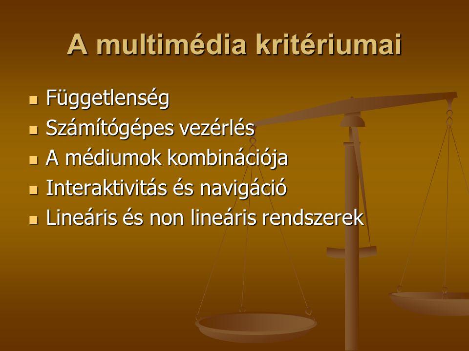 A multimédia kritériumai Függetlenség Függetlenség Számítógépes vezérlés Számítógépes vezérlés A médiumok kombinációja A médiumok kombinációja Interak