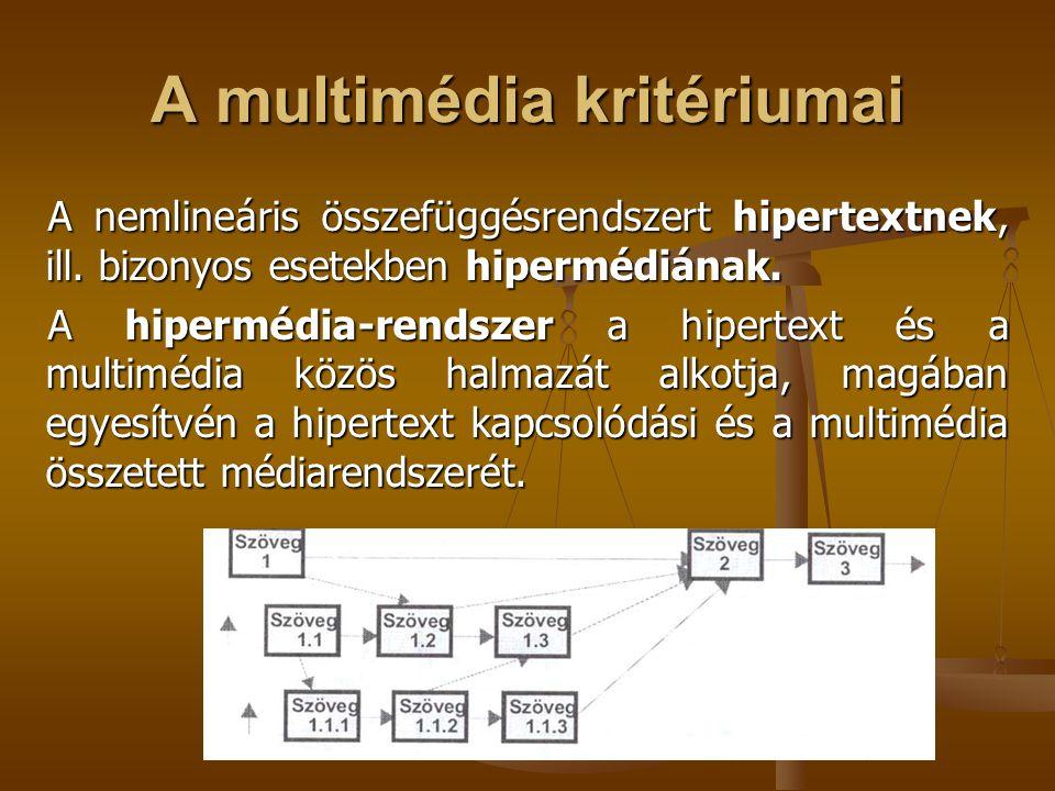 A multimédia kritériumai A nemlineáris összefüggésrendszert hipertextnek, ill. bizonyos esetekben hipermédiának. A hipermédia-rendszer a hipertext és