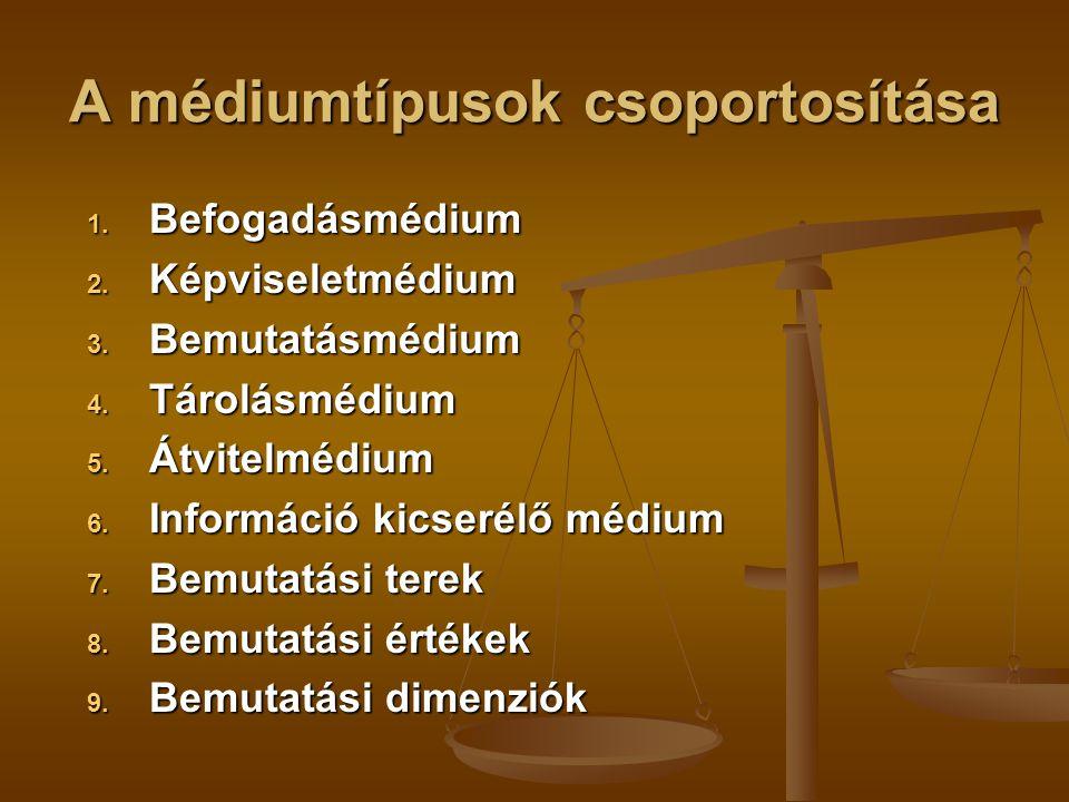 A médiumtípusok csoportosítása 1. Befogadásmédium 2. Képviseletmédium 3. Bemutatásmédium 4. Tárolásmédium 5. Átvitelmédium 6. Információ kicserélő méd
