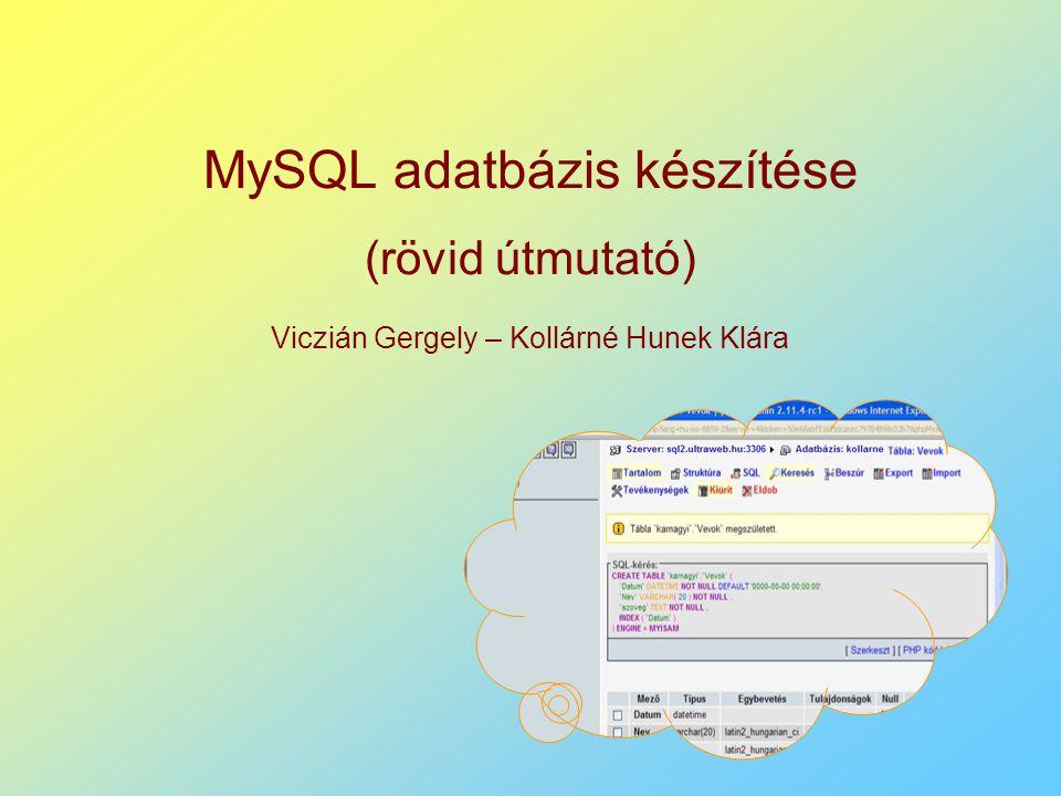 MySQL adatbázis készítése (rövid útmutató) Viczián Gergely – Kollárné Hunek Klára