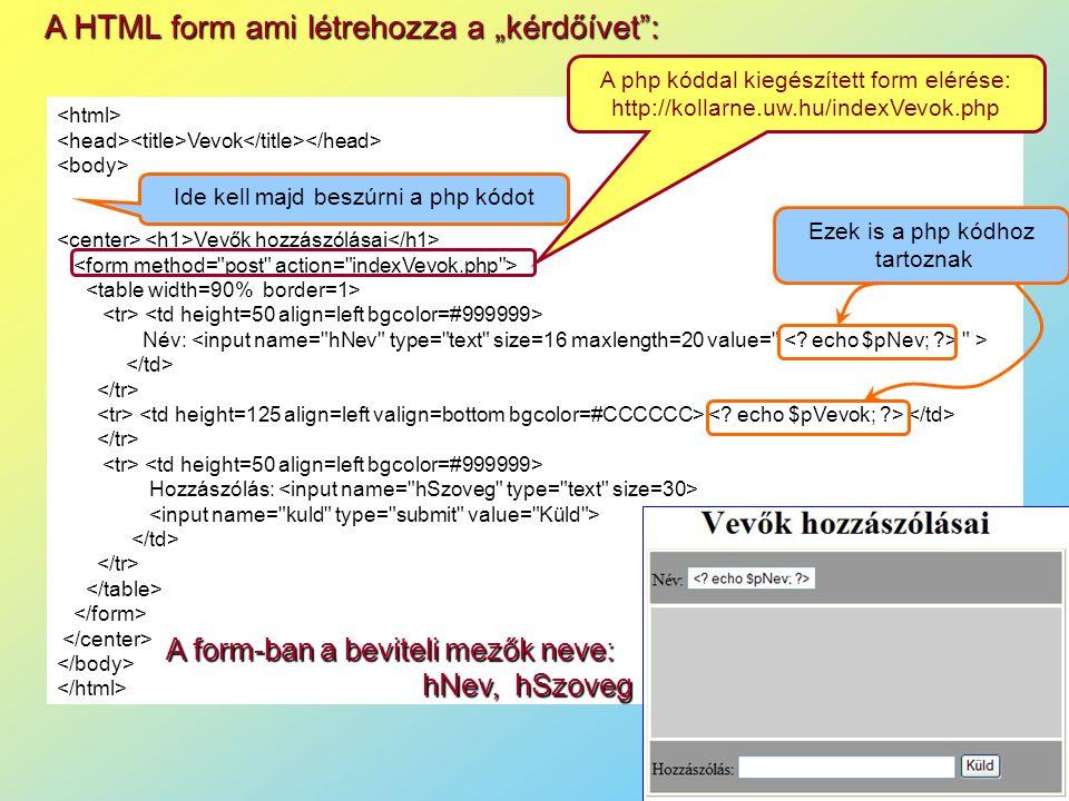 """A HTML form ami létrehozza a """"kérdőívet : Vevok Vevők hozzászólásai Név: > Hozzászólás: Ide kell majd beszúrni a php kódot Ezek is a php kódhoz tartoznak A form-ban a beviteli mezők neve: hNev, hSzoveg A php kóddal kiegészített form elérése: http://kollarne.uw.hu/indexVevok.php"""