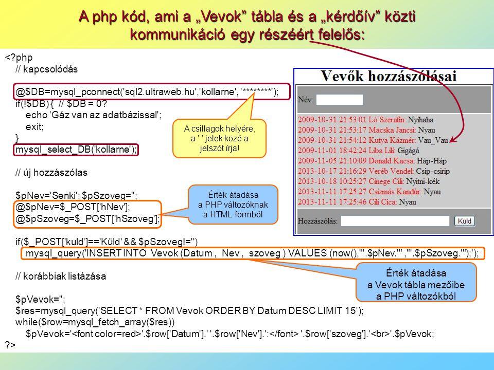 """A php kód, ami a """"Vevok tábla és a """"kérdőív közti kommunikáció egy részéért felelős: <?php // kapcsolódás @$DB=mysql_pconnect( sql2.ultraweb.hu , kollarne , ******** ); if(!$DB) { // $DB = 0."""