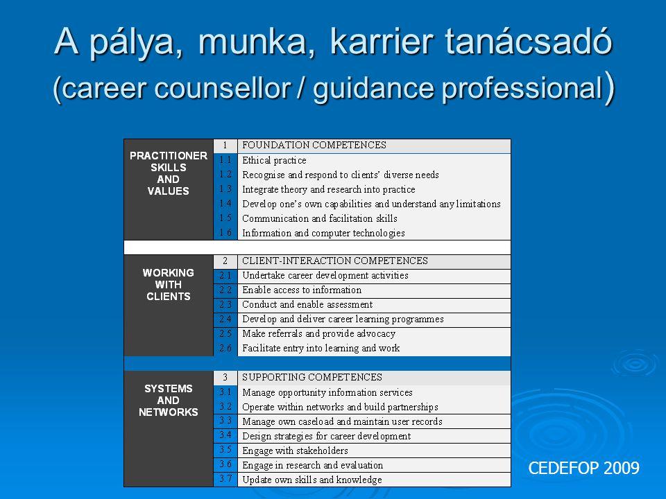 A pálya, munka, karrier tanácsadó (career counsellor / guidance professional ) CEDEFOP 2009
