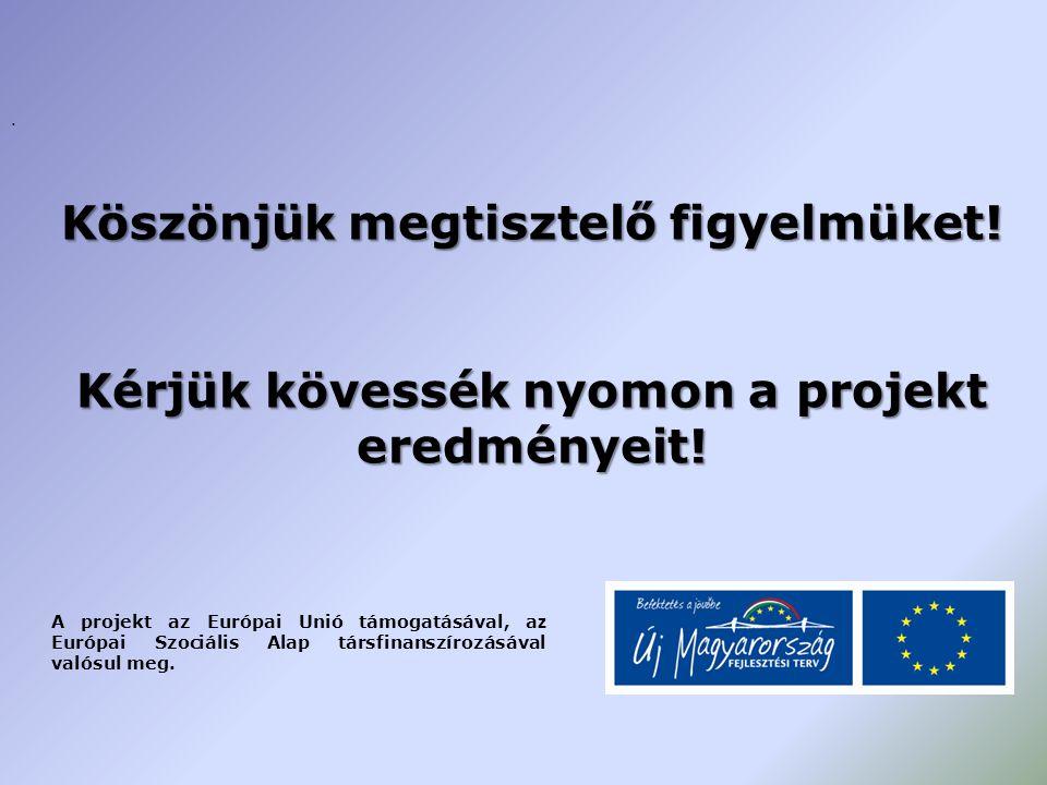 . Köszönjük megtisztelő figyelmüket! Kérjük kövessék nyomon a projekt eredményeit! A projekt az Európai Unió támogatásával, a z Európai Szociális Alap