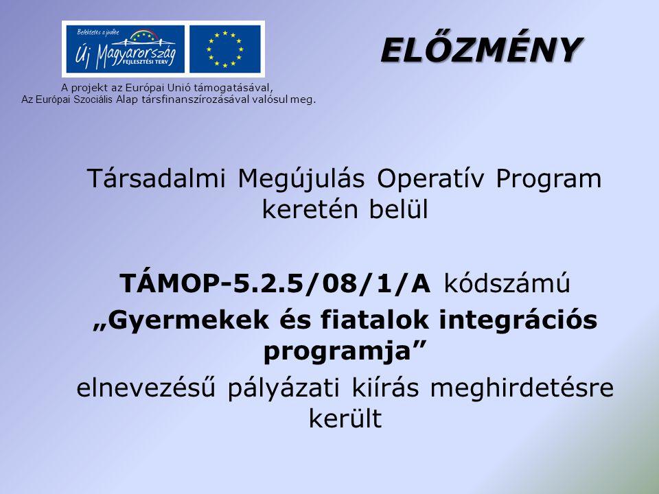 A projekt az Európai Unió támogatásával, A z Európai Szociális Alap társfinanszírozásával valósul meg. ELŐZMÉNY Társadalmi Megújulás Operatív Program