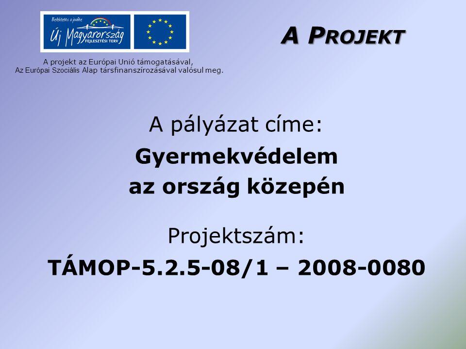 A P ROJEKT A pályázat címe: Gyermekvédelem az ország közepén Projektszám: TÁMOP-5.2.5-08/1 – 2008-0080 A projekt az Európai Unió támogatásával, A z Eu