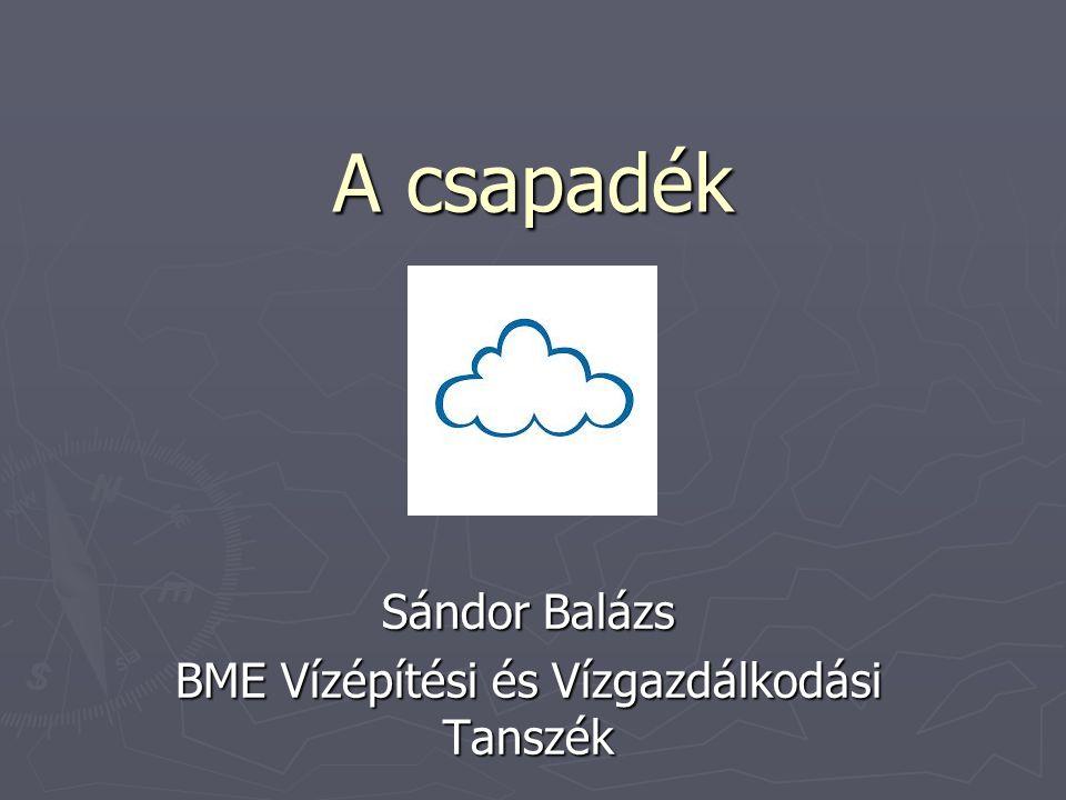 A csapadék Sándor Balázs BME Vízépítési és Vízgazdálkodási Tanszék