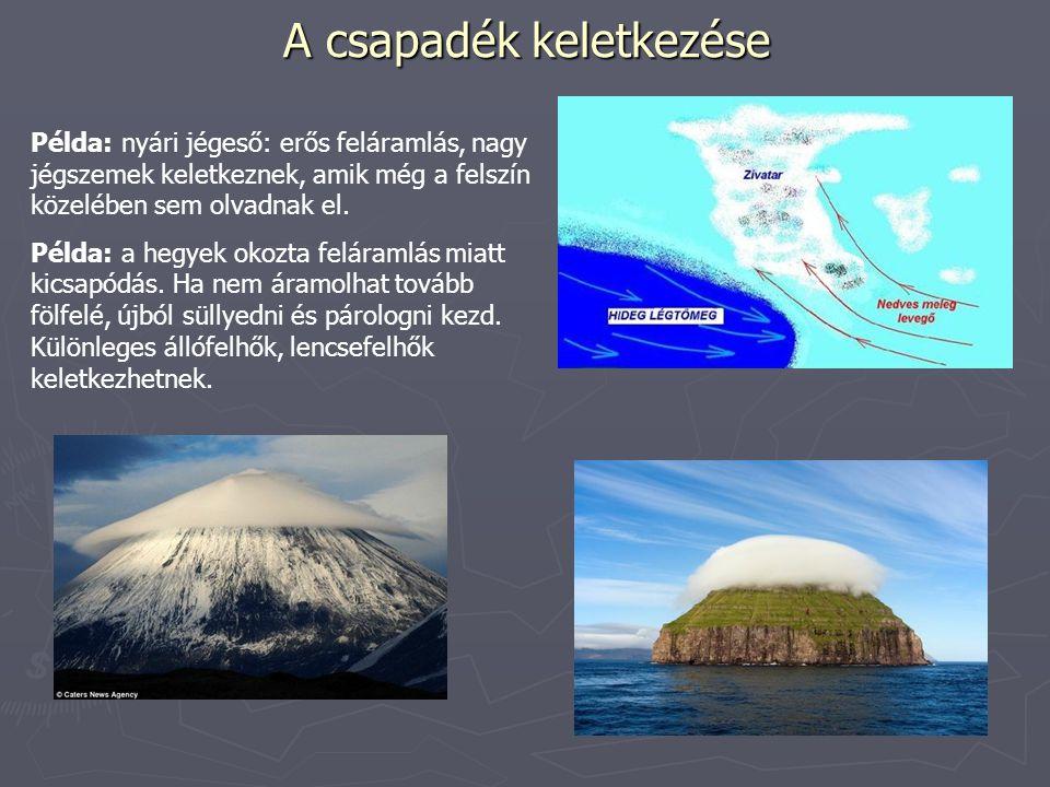 A csapadék keletkezése Példa: nyári jégeső: erős feláramlás, nagy jégszemek keletkeznek, amik még a felszín közelében sem olvadnak el. Példa: a hegyek