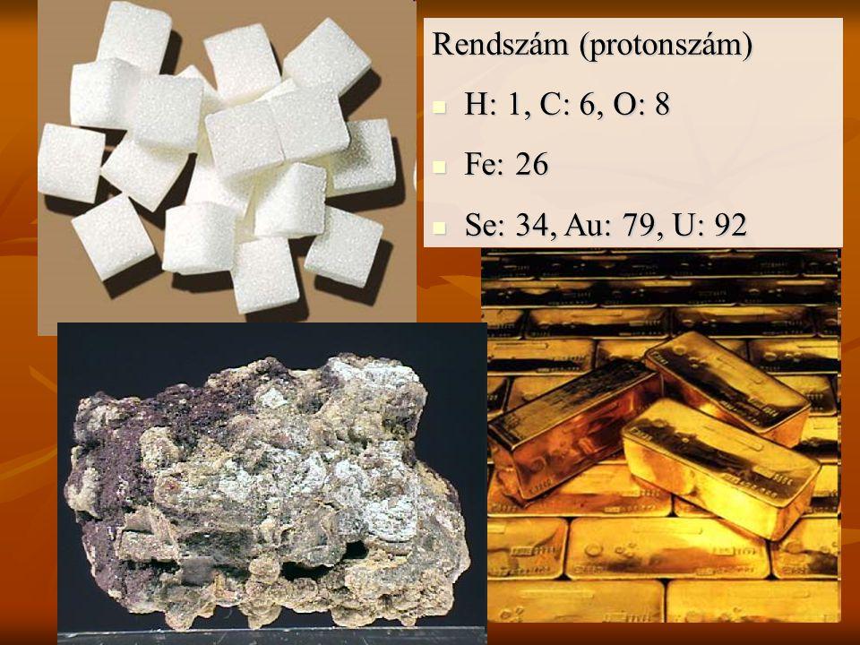 Rendszám (protonszám) H: 1, C: 6, O: 8 H: 1, C: 6, O: 8 Fe: 26 Fe: 26 Se: 34, Au: 79, U: 92 Se: 34, Au: 79, U: 92