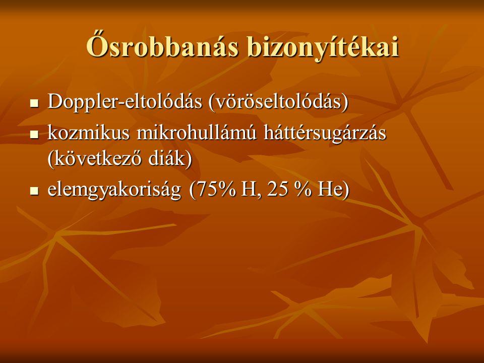 Ősrobbanás bizonyítékai Doppler-eltolódás (vöröseltolódás) Doppler-eltolódás (vöröseltolódás) kozmikus mikrohullámú háttérsugárzás (következő diák) kozmikus mikrohullámú háttérsugárzás (következő diák) elemgyakoriság (75% H, 25 % He) elemgyakoriság (75% H, 25 % He)