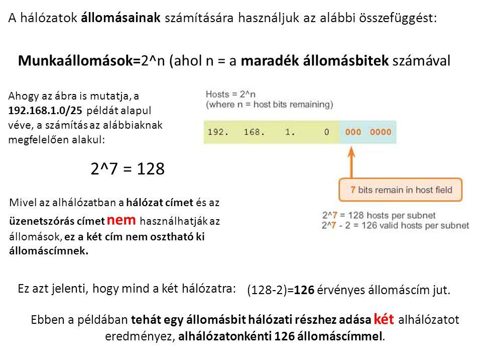 A hálózatok állomásainak számítására használjuk az alábbi összefüggést: Munkaállomások=2^n (ahol n = a maradék állomásbitek számával Ahogy az ábra is