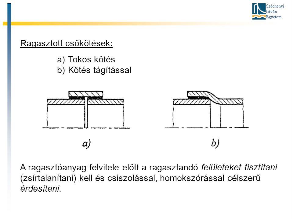 Ragasztott csőkötések: a)Tokos kötés b)Kötés tágítással A ragasztóanyag felvitele előtt a ragasztandó felületeket tisztítani (zsírtalanítani) kell és