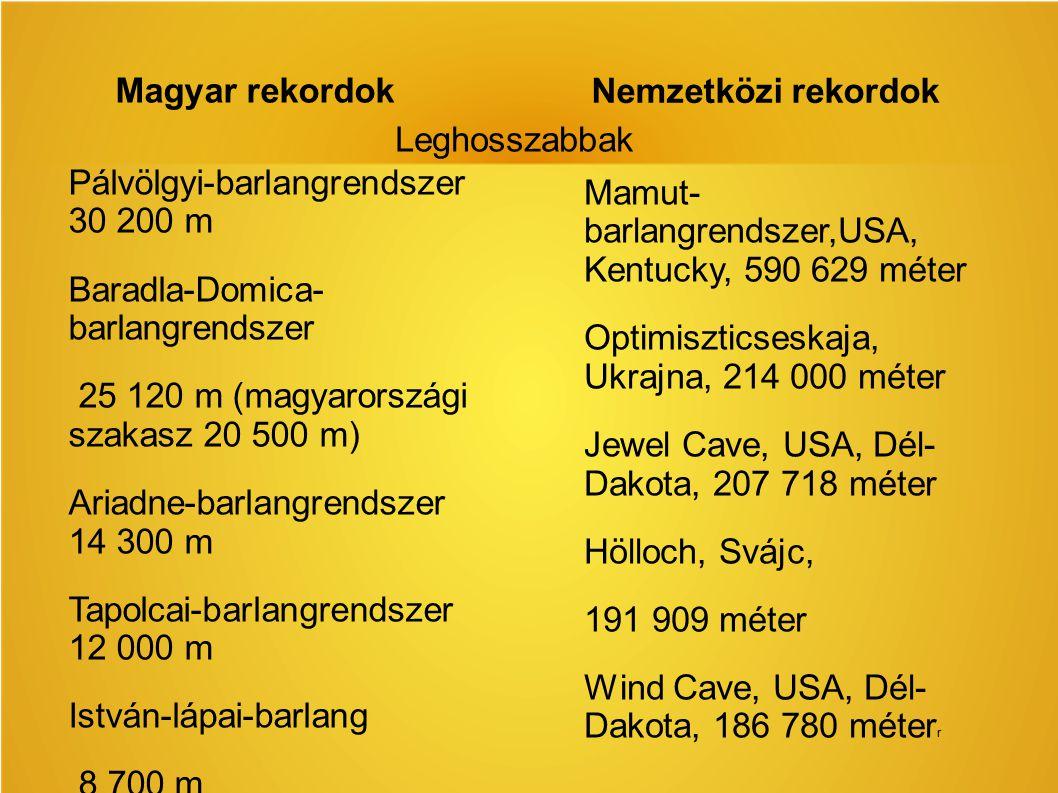 Magyar rekordok Nemzetközi rekordok Pálvölgyi-barlangrendszer 30 200 m Baradla-Domica- barlangrendszer 25 120 m (magyarországi szakasz 20 500 m) Ariad