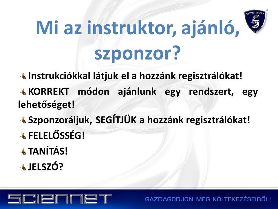 Mi az instruktor, ajánló, szponzor? Instrukciókkal látjuk el a hozzánk regisztrálókat! KORREKT módon ajánlunk egy rendszert, egy lehetőséget! Szponzor
