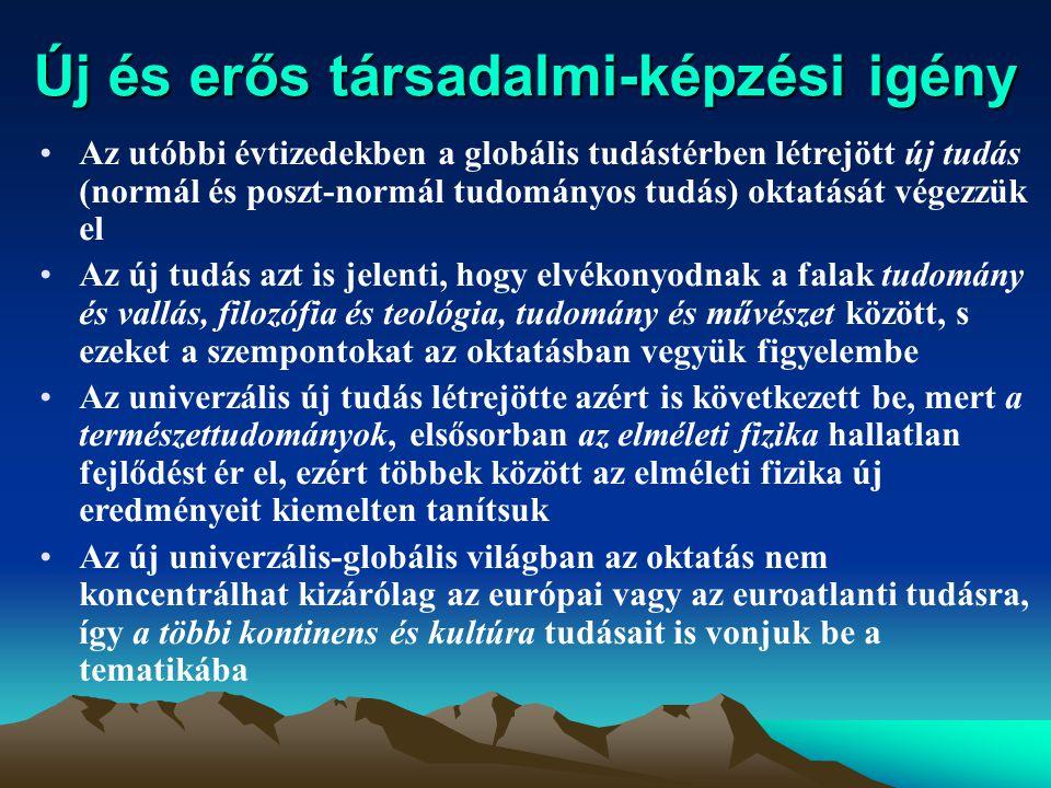 Új és erős társadalmi-képzési igény Az univerzális magyar és európai hagyományokat és általában az új történelmi ismereteket és felfogásokat ismertessük meg a hallgatókkal Ha a 21.