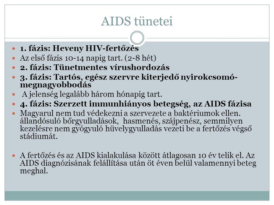 AIDS tünetei 1.fázis: Heveny HIV-fertőzés Az első fázis 10-14 napig tart.