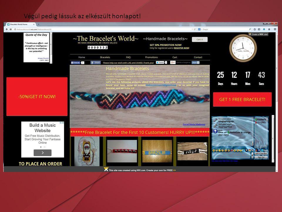 Végül pedig lássuk az elkészült honlapot!