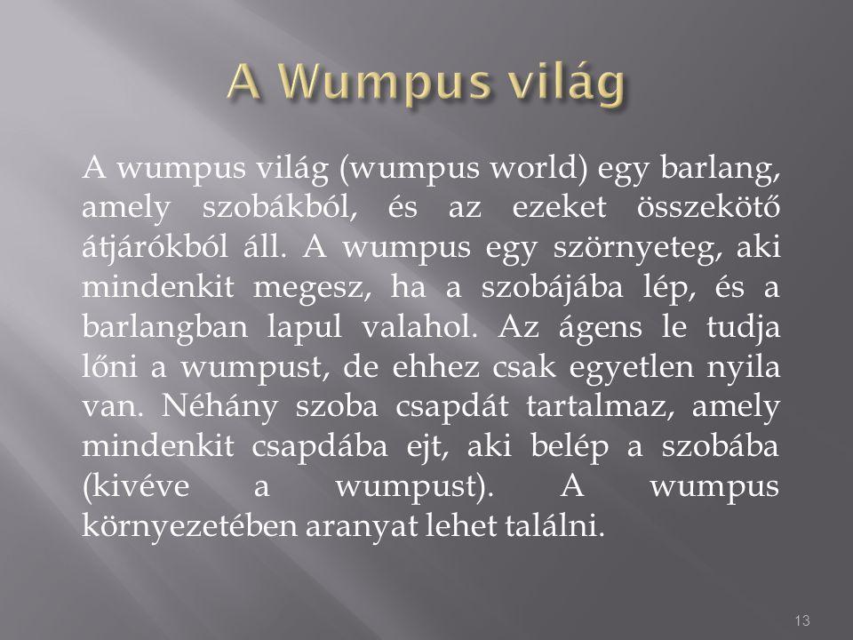 A wumpus világ (wumpus world) egy barlang, amely szobákból, és az ezeket összekötő átjárókból áll.