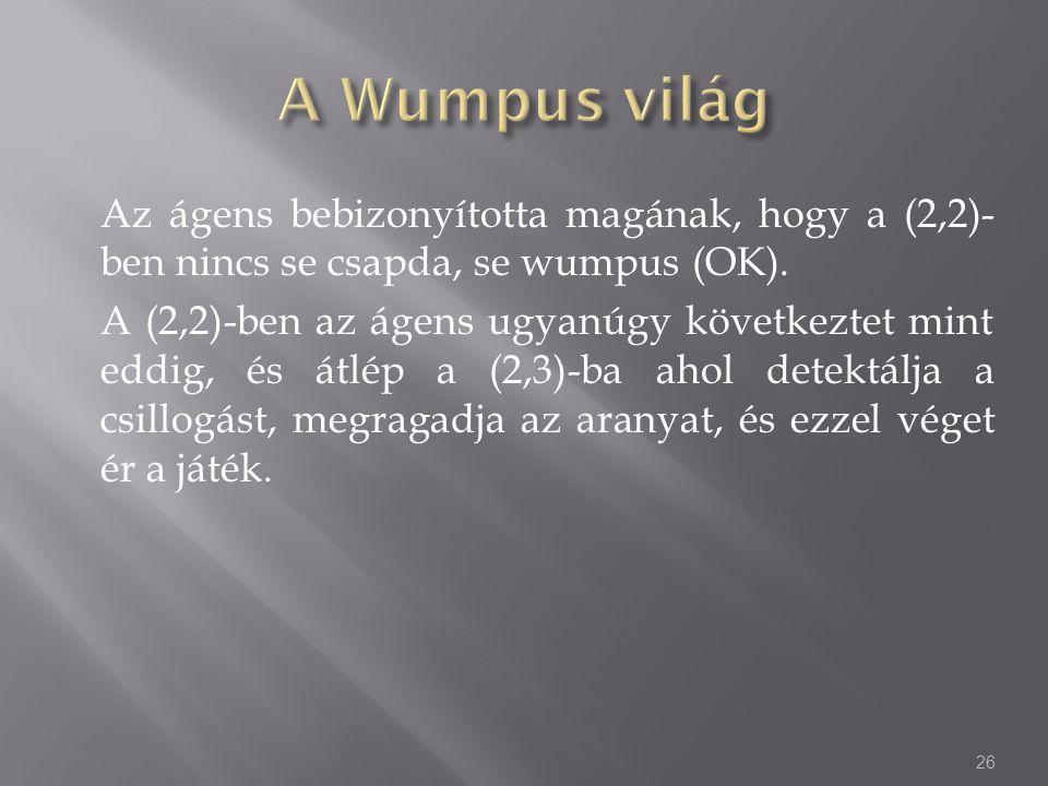 Az ágens bebizonyította magának, hogy a (2,2)- ben nincs se csapda, se wumpus (OK).
