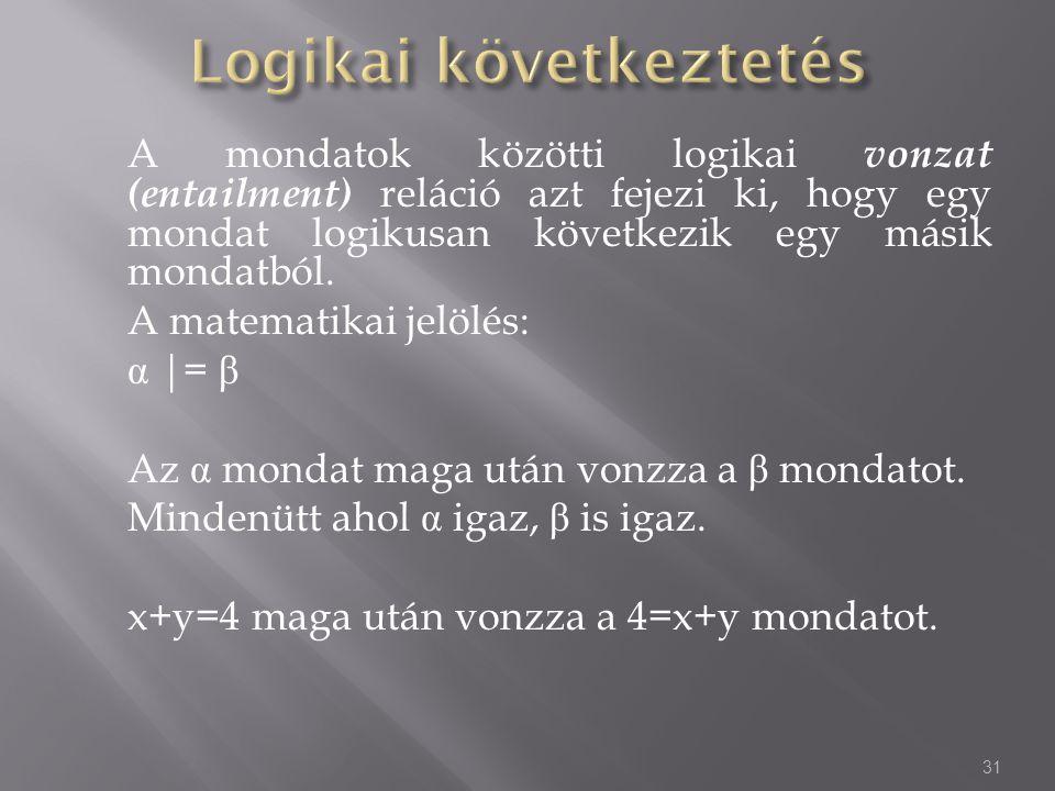 A mondatok közötti logikai vonzat (entailment) reláció azt fejezi ki, hogy egy mondat logikusan következik egy másik mondatból.
