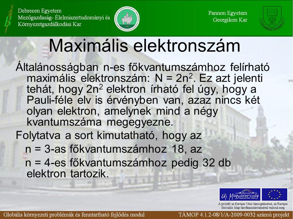 Maximális elektronszám Általánosságban n-es főkvantumszámhoz felírható maximális elektronszám: N = 2n 2.
