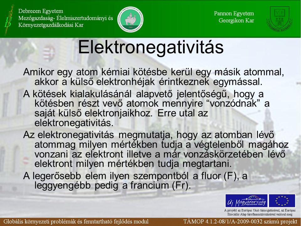 Az elektronegativitás értékei ELEM ELEKTRONEGATIVIT Á S O-3,5 N-3,0 C-2,5 H-2,1 Cl-3,0 S-2,5 Na-0,9 Fr-0,7