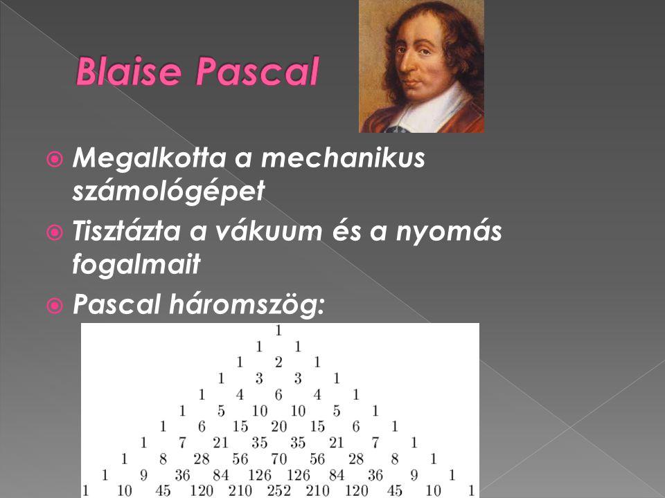  Megalkotta a mechanikus számológépet  Tisztázta a vákuum és a nyomás fogalmait  Pascal háromszög: