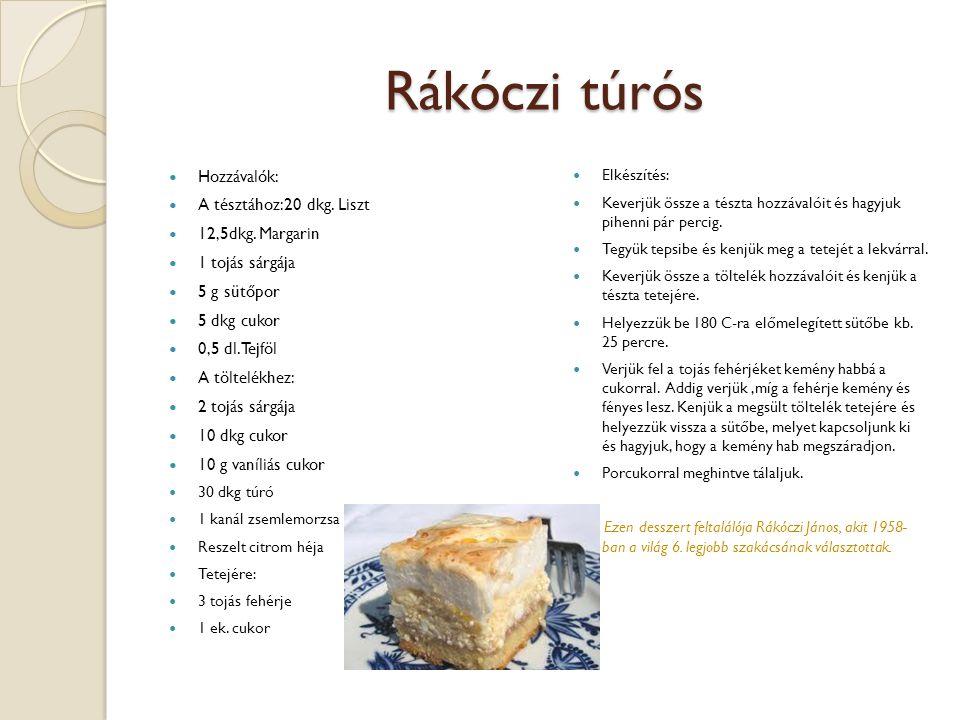Rákóczi túrós Hozzávalók: A tésztához:20 dkg.Liszt 12,5dkg.