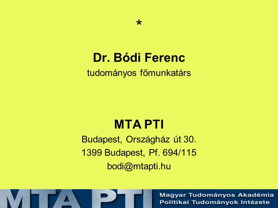 * Dr. Bódi Ferenc tudományos főmunkatárs MTA PTI Budapest, Országház út 30.