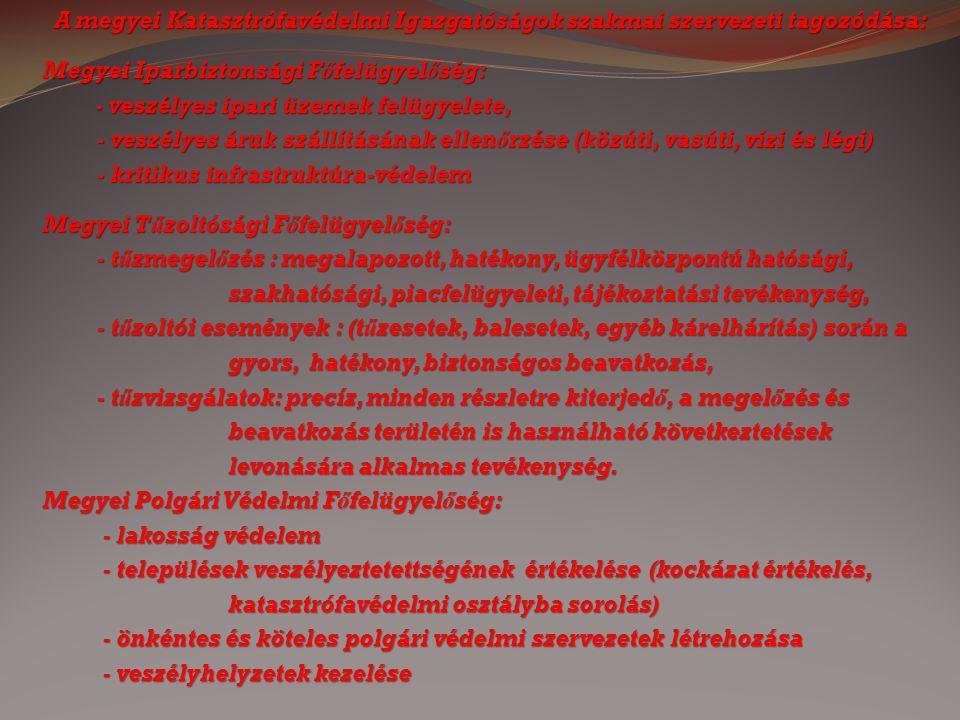 A megyei Katasztrófavédelmi Igazgatóságok szakmai szervezeti tagozódása: Megyei Iparbiztonsági Főfelügyelőség: - veszélyes ipari üzemek felügyelete, -