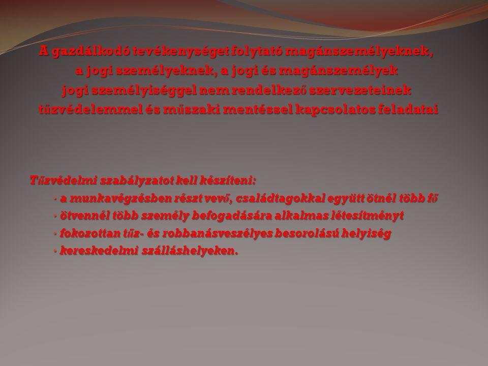 A gazdálkodó tevékenységet folytató magánszemélyeknek, a jogi személyeknek, a jogi és magánszemélyek jogi személyiséggel nem rendelkez ő szervezeteine