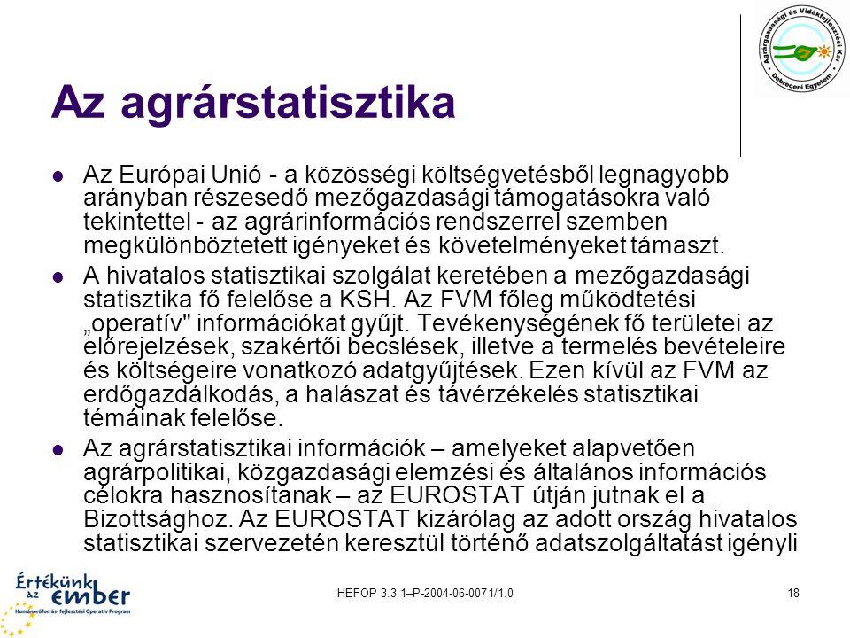 HEFOP 3.3.1–P-2004-06-0071/1.018 Az agrárstatisztika Az Európai Unió - a közösségi költségvetésből legnagyobb arányban részesedő mezőgazdasági támogatásokra való tekintettel - az agrárinformációs rendszerrel szemben megkülönböztetett igényeket és követelményeket támaszt.