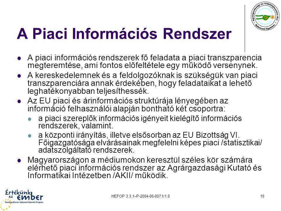 HEFOP 3.3.1–P-2004-06-0071/1.019 A Piaci Információs Rendszer A piaci információs rendszerek fő feladata a piaci transzparencia megteremtése, ami fontos előfeltétele egy működő versenynek.