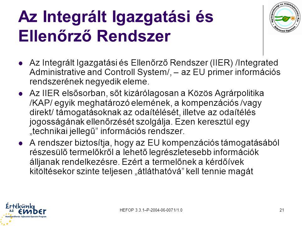 HEFOP 3.3.1–P-2004-06-0071/1.021 Az Integrált Igazgatási és Ellenőrző Rendszer Az Integrált Igazgatási és Ellenőrző Rendszer (IIER) /Integrated Administrative and Controll System/, – az EU primer információs rendszerének negyedik eleme.