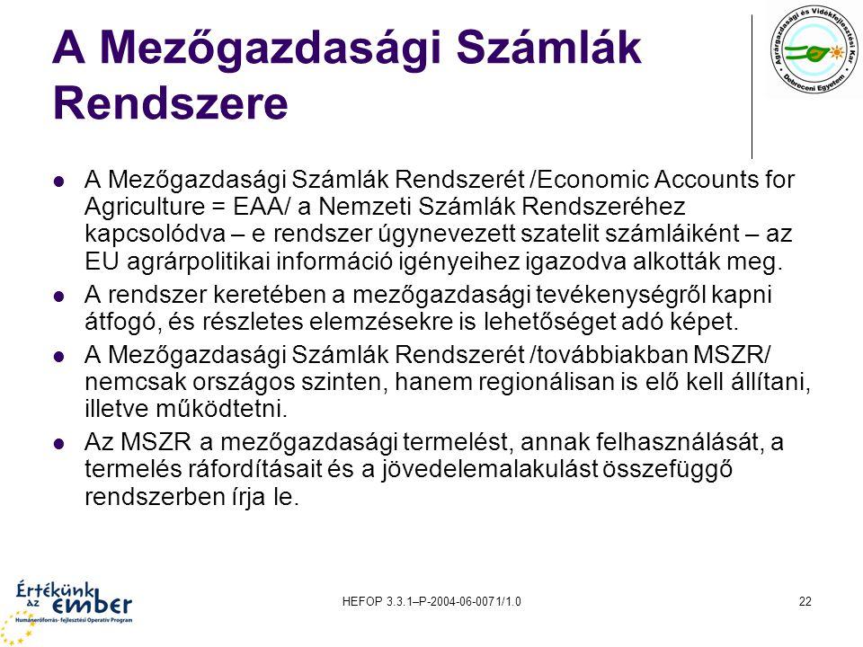 HEFOP 3.3.1–P-2004-06-0071/1.022 A Mezőgazdasági Számlák Rendszere A Mezőgazdasági Számlák Rendszerét /Economic Accounts for Agriculture = EAA/ a Nemzeti Számlák Rendszeréhez kapcsolódva – e rendszer úgynevezett szatelit számláiként – az EU agrárpolitikai információ igényeihez igazodva alkották meg.