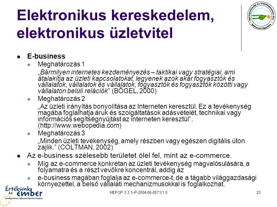 """HEFOP 3.3.1–P-2004-06-0071/1.023 Elektronikus kereskedelem, elektronikus üzletvitel E-business Meghatározás 1 """"Bármilyen internetes kezdeményezés – taktikai vagy stratégiai, ami átalakítja az üzleti kapcsolatokat, legyenek azok akár fogyasztók és vállalatok, vállalatok és vállalatok, fogyasztók és fogyasztók közötti vagy vállalaton belüli relációk (BŐGEL, 2000) Meghatározás 2 """"Az üzleti irányítás bonyolítása az Interneten keresztül."""
