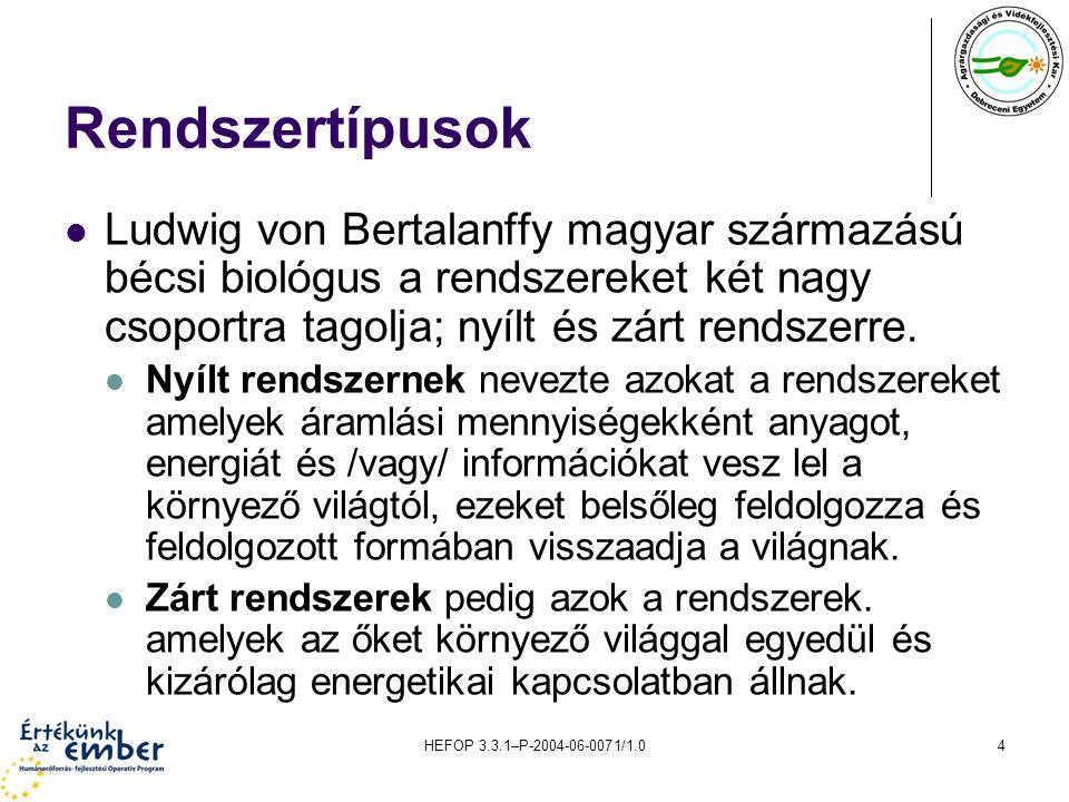 HEFOP 3.3.1–P-2004-06-0071/1.04 Rendszertípusok Ludwig von Bertalanffy magyar származású bécsi biológus a rendszereket két nagy csoportra tagolja; nyílt és zárt rendszerre.