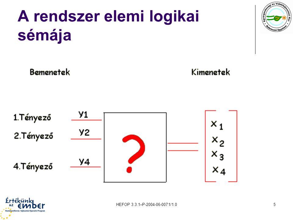 HEFOP 3.3.1–P-2004-06-0071/1.06 A rendszer bemente, kimenete és a környezet