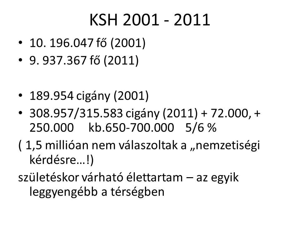 KSH 2001 - 2011 10. 196.047 fő (2001) 9.