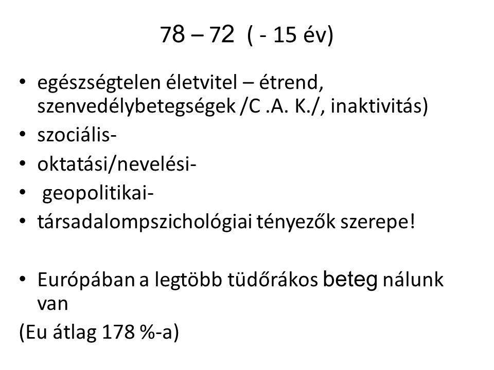 7 8 – 7 2 ( - 15 év) egészségtelen életvitel – étrend, szenvedélybetegségek /C.A.