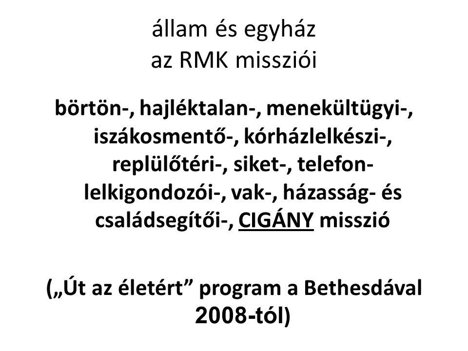 """állam és egyház az RMK missziói börtön-, hajléktalan-, menekültügyi-, iszákosmentő-, kórházlelkészi-, replülőtéri-, siket-, telefon- lelkigondozói-, vak-, házasság- és családsegítői-, CIGÁNY misszió (""""Út az életért program a Bethesdával 2008-tól )"""