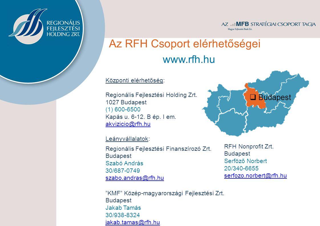 Az RFH Csoport elérhetőségei Központi elérhetőség: Regionális Fejlesztési Holding Zrt. 1027 Budapest (1) 600-6500 Kapás u. 6-12. B ép. I em. akvizicio