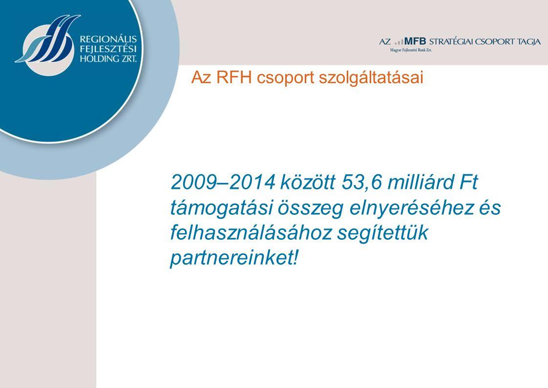 2009–2014 között 53,6 milliárd Ft támogatási összeg elnyeréséhez és felhasználásához segítettük partnereinket! Az RFH csoport szolgáltatásai