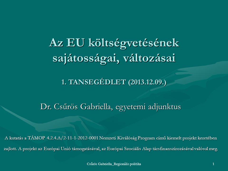 Csűrös Gabriella_Regionális politika1 Az EU költségvetésének sajátosságai, változásai 1. TANSEGÉDLET (2013.12.09.) Dr. Csűrös Gabriella, egyetemi adju