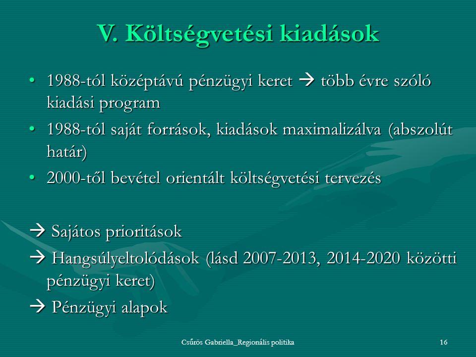 Csűrös Gabriella_Regionális politika16 V. Költségvetési kiadások 1988-tól középtávú pénzügyi keret  több évre szóló kiadási program1988-tól középtávú