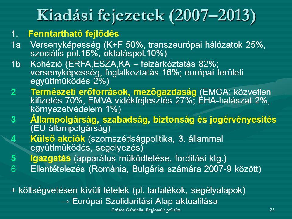 Csűrös Gabriella_Regionális politika23 Kiadási fejezetek (2007–2013) 1. Fenntartható fejlődés 1aVersenyképesség (K+F 50%, transzeurópai hálózatok 25%,