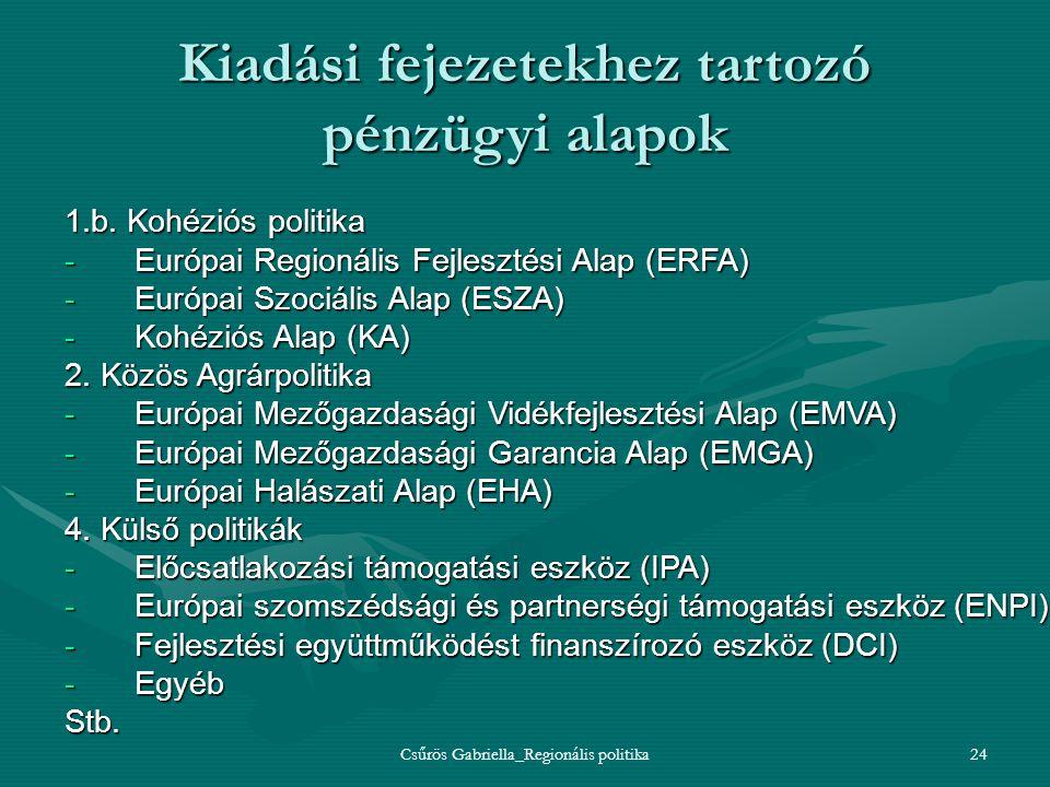Csűrös Gabriella_Regionális politika24 Kiadási fejezetekhez tartozó pénzügyi alapok 1.b. Kohéziós politika -Európai Regionális Fejlesztési Alap (ERFA)