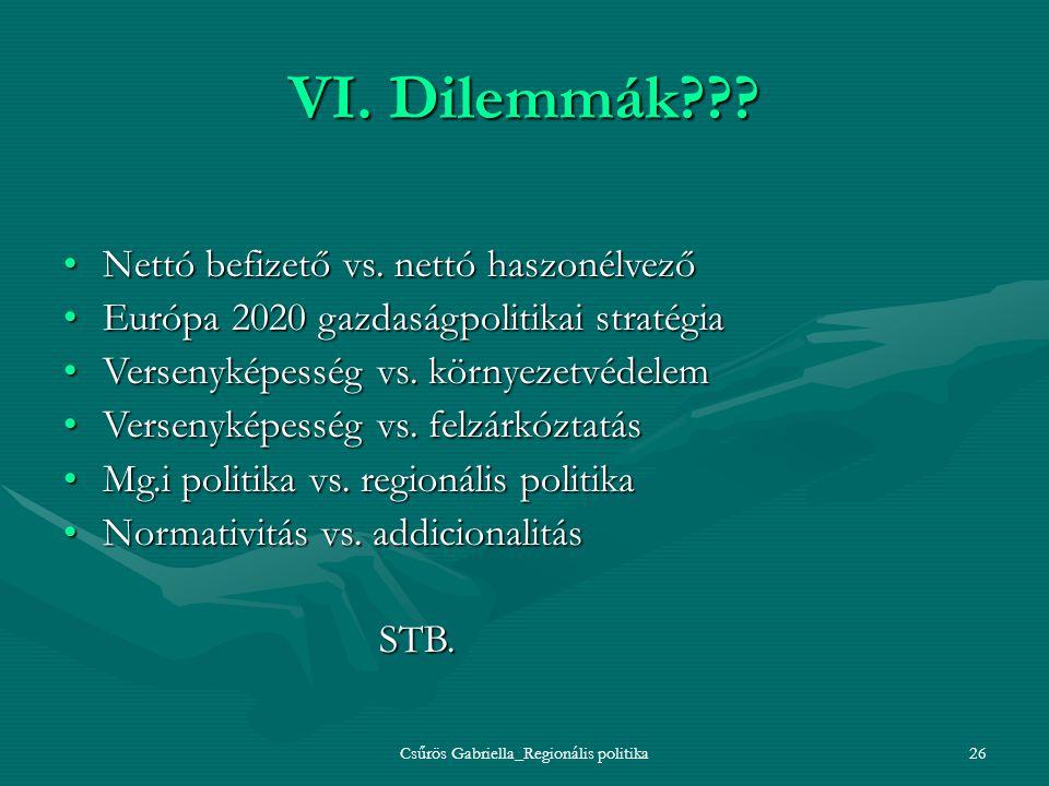 Csűrös Gabriella_Regionális politika26 VI. Dilemmák??? Nettó befizető vs. nettó haszonélvezőNettó befizető vs. nettó haszonélvező Európa 2020 gazdaság