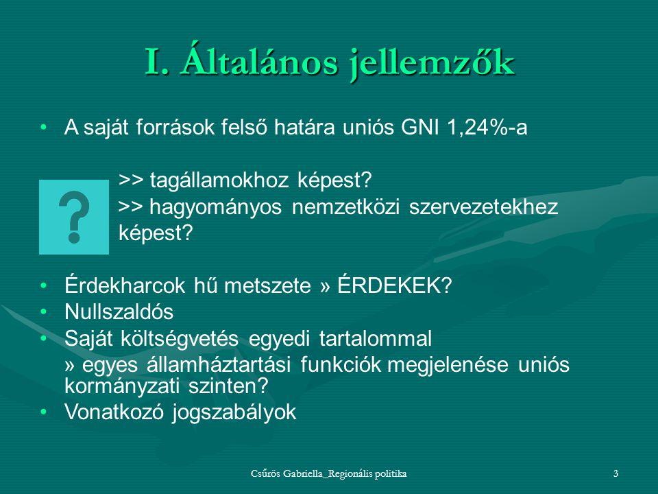 Csűrös Gabriella_Regionális politika3 I. Általános jellemzők A saját források felső határa uniós GNI 1,24%-a >> tagállamokhoz képest? >> hagyományos n