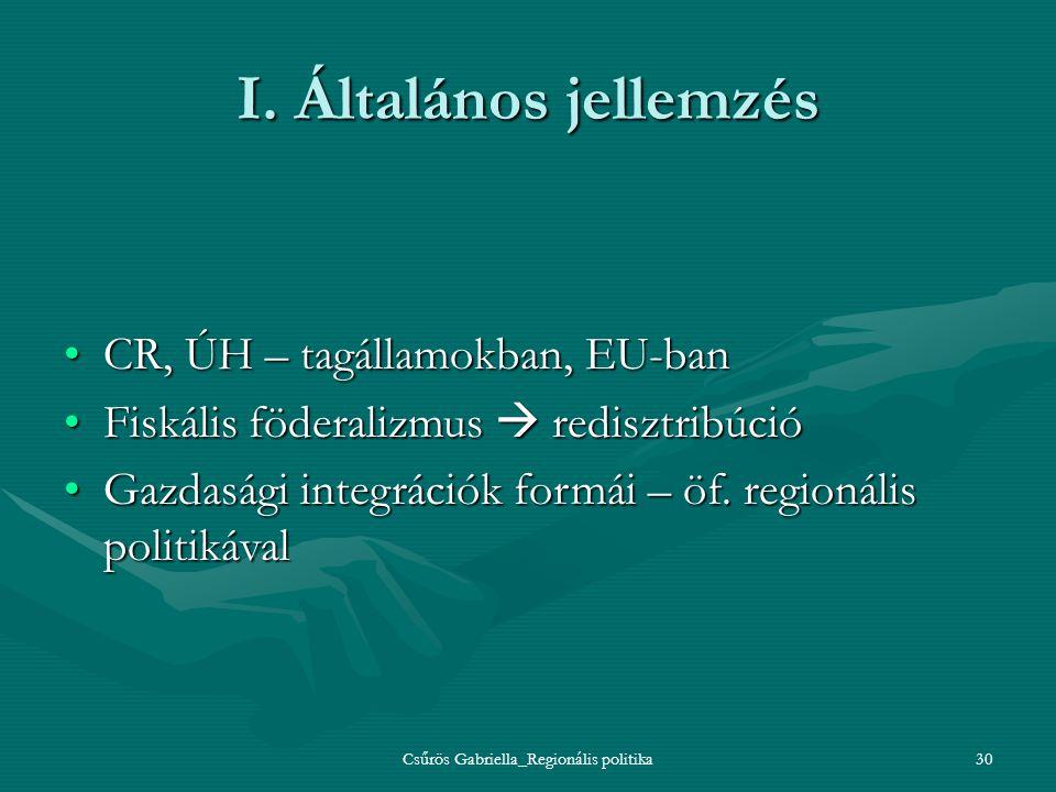 Csűrös Gabriella_Regionális politika30 I. Általános jellemzés CR, ÚH – tagállamokban, EU-banCR, ÚH – tagállamokban, EU-ban Fiskális föderalizmus  red